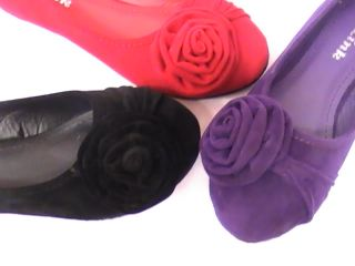 Girl Suede Ballet Flats w Flower LORITA42 Youth Flower Girl Pageant Dress Shoes