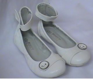 Girls White Ballet Flats w Button PK Toddler Sz 4