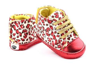 Baby Girl Leopard Red Crib Shoes Walking Sneaker Size 1 2 3