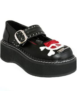 Demonia Emily 221 Black Platform Creepers Bow Skull Heart Punk Kawaii