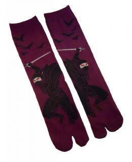 Japanese Ninja Tabi Socks Purple Black for Mens Womens Split Toe Samurai Shoes