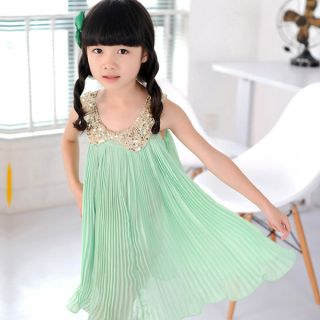 1pc New Girls Kids Baby Sequin Pleated Skirt Chiffon Party Dress Clothes Outfit
