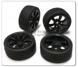 4pcs 1 10 RC Car 7 Spoke Wheel Rim Tires Tyre Black
