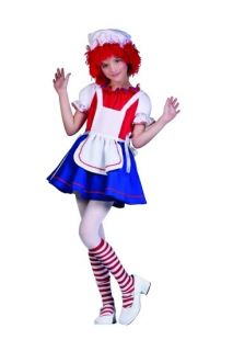 Raggedy Ann Rag Doll Child Costume Clown Girl Dress Halloween Costumes 91329