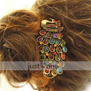 Retro Style Colorful Rhinestone Peacock Hair Clamp Clip