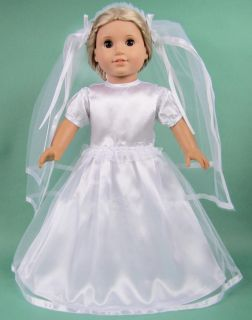 New Doll Clothes Fits 18'' American Girl Handmade Wedding Dress Gown Veil B25
