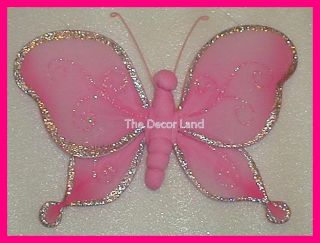 "8"" Pink Sparkly Butterfly Wall Hanging Nursery Decor"
