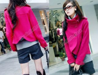 Korea Women Lady Fashion Single Breasted Turtleneck Wool Jacket Coat Outwear