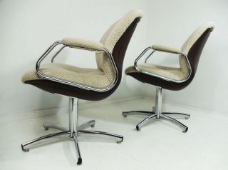 2 Modernistic Steelcase Chrome Swivel Chairs Wool Woven Fabric Vtg