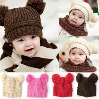 Fashion Baby Girls Boys Kids Dual Ball Knit Sweater Cap Winter Warm Hat Hot Sale