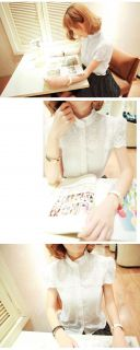 Womens Short Sleeve Floral Lace Shoulder Chiffon Stand Collar Shirt Blouse Tops