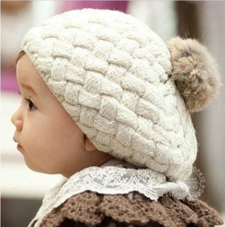 3 Colors Cute Baby Kids Girls Knit Crochet Beanie Winter Warm Hat Cap Fashion