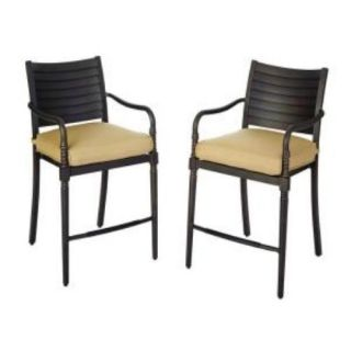 Hampton Bay 13H 001 HD2 Madison Patio High Dining Chairs w Wheat Cushions 2 PK
