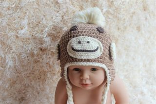 Cute Handmade Knit Crochet Baby Sock Monkey Hat Light Brown 3 9Month Photo Prop