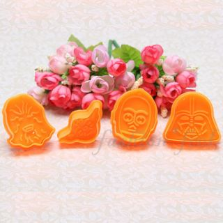 New 4X Star War 3D Fondant Cake Decorating Cookie Cutter Sugarcraft Mold