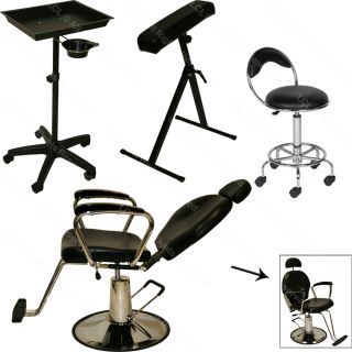 Tattoo Hydraulic Reclining Barber Chair Arm Bar Rest Black Tray Salon Equipment