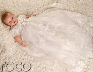Baby Girls Ivory Dress Traditional Baptism Gown Christening Dresses 0 12M