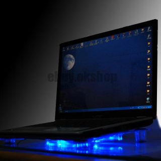 USB 3 Blue LED Fan Light Laptop Notebook Cooler Cooling