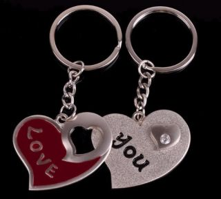 "Lovely Two ""Love You"" Heart Key Chain Lovers Wedding Gift Couple Keyfob"