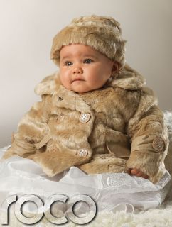 Baby Girls Mink Faux Fur Suri Style Coat Warm Winter Cream Jacket Hat 0 24M