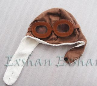 Baby Toddler Boy Girl Kids Pilot Aviator Warm Cap Hat Beanie Goggle Black Brown
