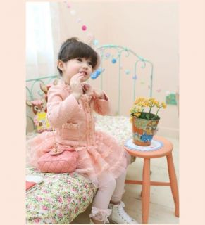 Junoesque Baby Girls 2pcs Puff Sleeve Cardigan Tutu Tulle Skirt Kids Sets Suits