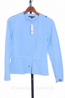 Theory Baby Blue 0 XS Leather Enora Ford Asymmetrical Zip Coat Jacket New $1285