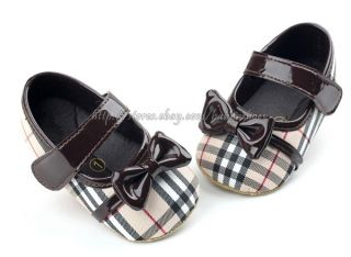 Baby Girl Mary Jane Soft Sole Crib Shoes Bows Walking Sneakers Size 1 2 3