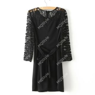 Womens Girls Fashion Hollow Embroidery Lace 7 10 Sleeve Sexy Mini Dress B2846