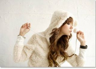 New Womens Korean Fashion Cute Bear Bunny Ears Fleece sweat Hoodie 3 Colors E746
