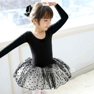 Girls Black Dance Party Leotard Ballet Costume Tutu Fairy Skirt Dress Sz 2 7Y
