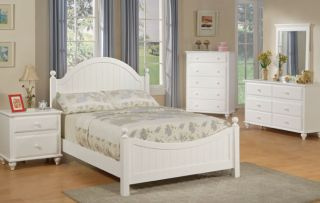 4pcs Twin or Full Girl Kid Youth Bedroom Set in A White Finish Hard Wood
