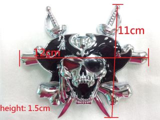 3D Custom Chrome Pirate Skull Cross Knives Evil Emblem Badge Sticker Decal