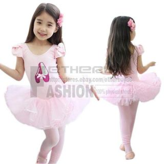 Girl Kids Sequin Shoes Ballet Dance Wear Leotard Costume Tutu Dress Skirt Sz 3 7
