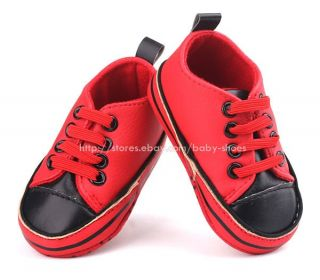 Baby Boy Girl Red Black Soft Sole Shoes Sneaker Size Newborn to 18 Months