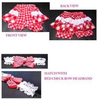 Sale Baby Toddler Girl Red Check Ruffles Shorts Pants Headband Set 6 24 Months