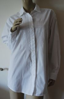 Eddie Bauer Size M Embroidered Big Shirt White 100 Cotton Oversized Blouse Top