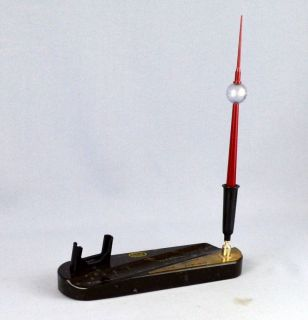 Vintage German Fernsehturm TV Tower Red Bakelite Ball Pen Black Marble Desk Tray