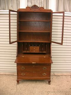 Antique Oak Secretary Drop Front Desk with 2 Glass Door Bookcase Display Cabinet