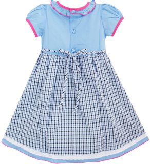 2 in 1 Baby Girls Dress Short Sleeve Blue Plaids Embroider Flower Kids Sz 3