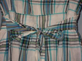 Turquoise Plaid Western Rock A Billy Pearl Snap Sash Tie Full Skirt Mini Dress M