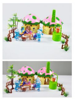 Smurf Figures Happy Family Red Mushroom House Set TG0801