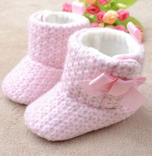 1 Baby Girls Princess Fleece Bow Warm Soft Snow Shoes Boots 0 6M
