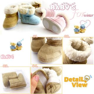 1pc Baby Boy Girl Infant Toddler Winter Fur Shoes Snow Boots Warm 6 24M 3 Colors