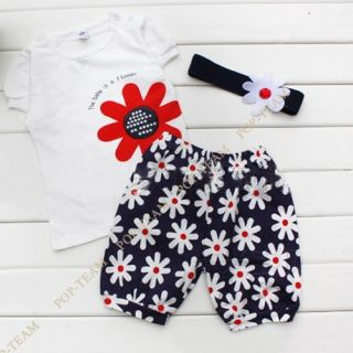 3pcs Baby Girls T Shirt Headband Top Pants Shorts Flower Outfit Clothes Set TYE4