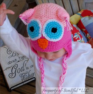 BonEful RTS New Boutique Crochet Soft Knit Baby SM Girl Gift Owl Pink Winter Hat