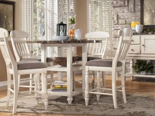 Salinas 5pcs Cottage White Round Counter Height Dining Room Table Chairs Pub Set