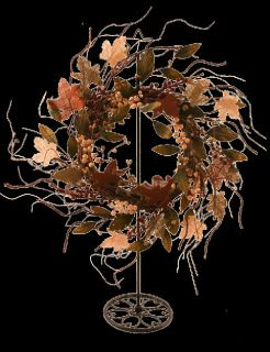 "22"" Maple Burlap Twig Wreath Fall Autumn Leaves Browns Orange and Creams"