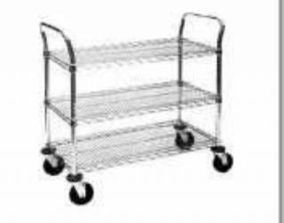 Metro MW Series Chrome Plated Wire Utility Cart 2 Shelves 375 lbs Capacity