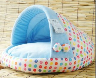 Medium Pretty Blue Soft Pet Dog Cat Bed House